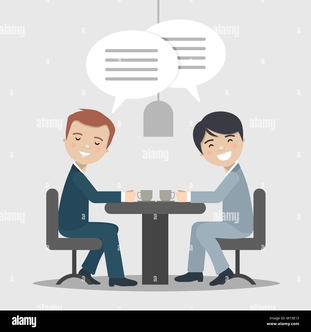 Two businessman talking about work in a cafe. Vector illustration Stock Vector
