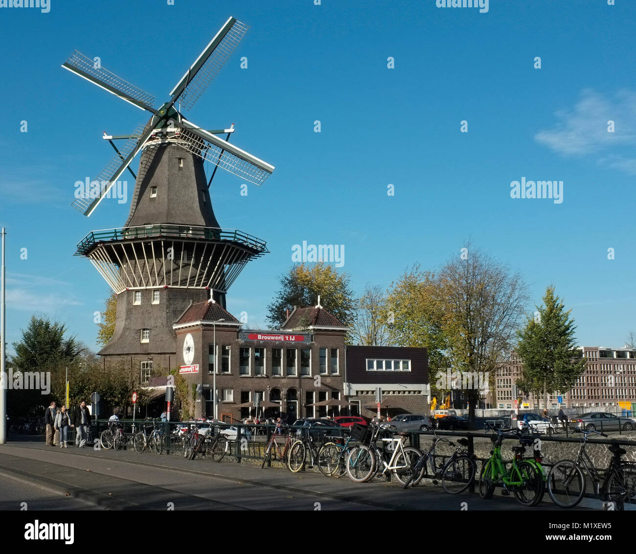 general view of De Gooyer Windmill and Brouwerij 't IJ, amtserdam, netherlands - Stock Image