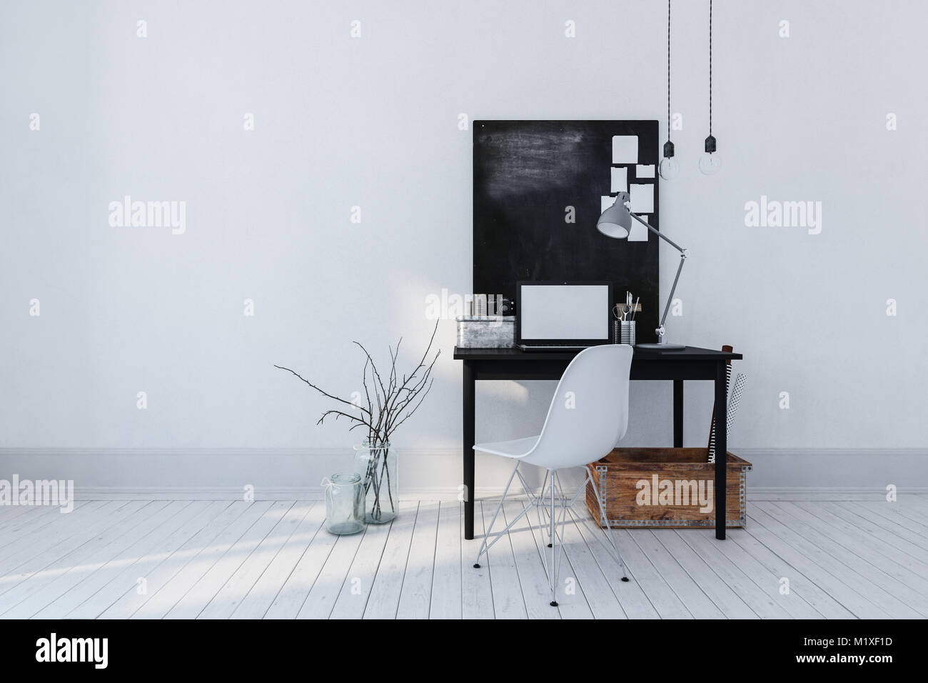 Minimalist Modern Furniture In Minimalist Modern Office Or Study Interior With Simple Writing Table Laptop Notice Board Contemporary Office Furniture 3d Stock Photos