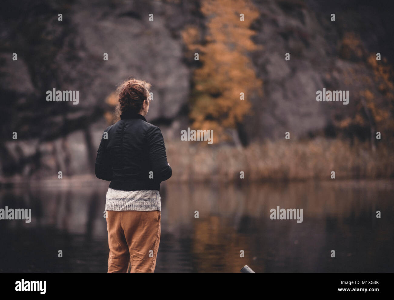 Rear view of woman at lake in Flaten, Sweden - Stock Image