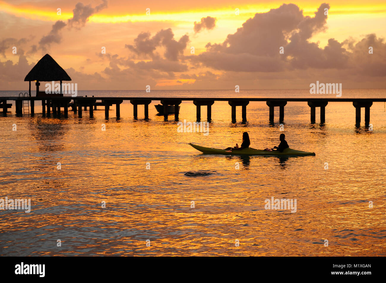 Man and woman kayaking at sunrise in Rangiroa - Stock Image
