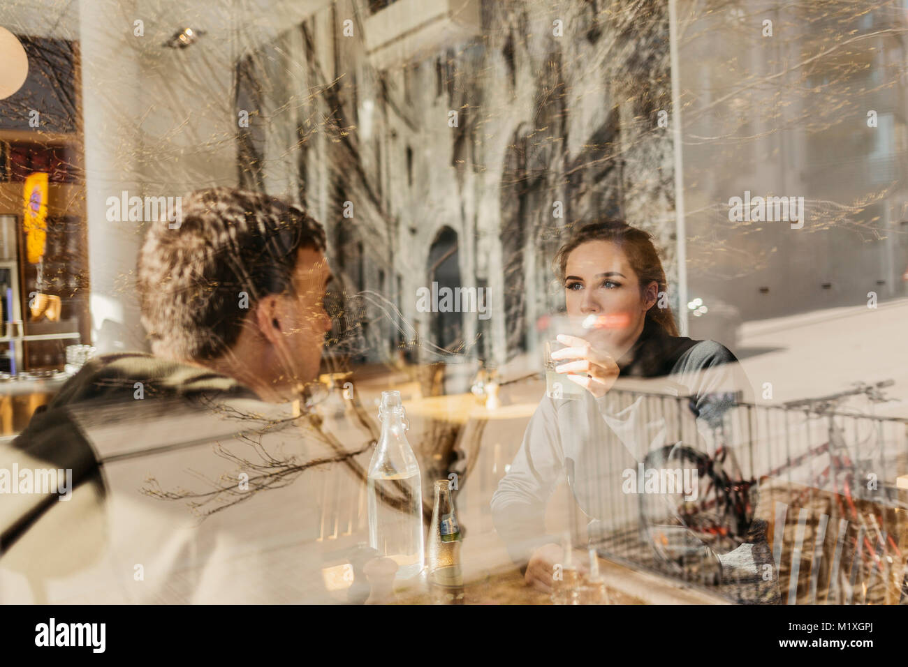 Couple at restaurant in Sweden - Stock Image