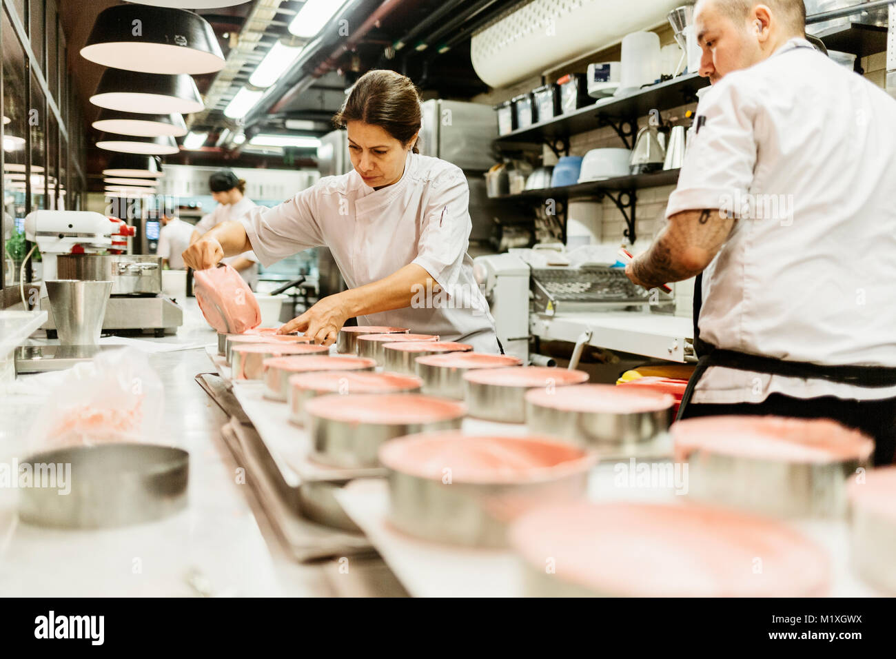 Chefs at bakery in Sweden - Stock Image