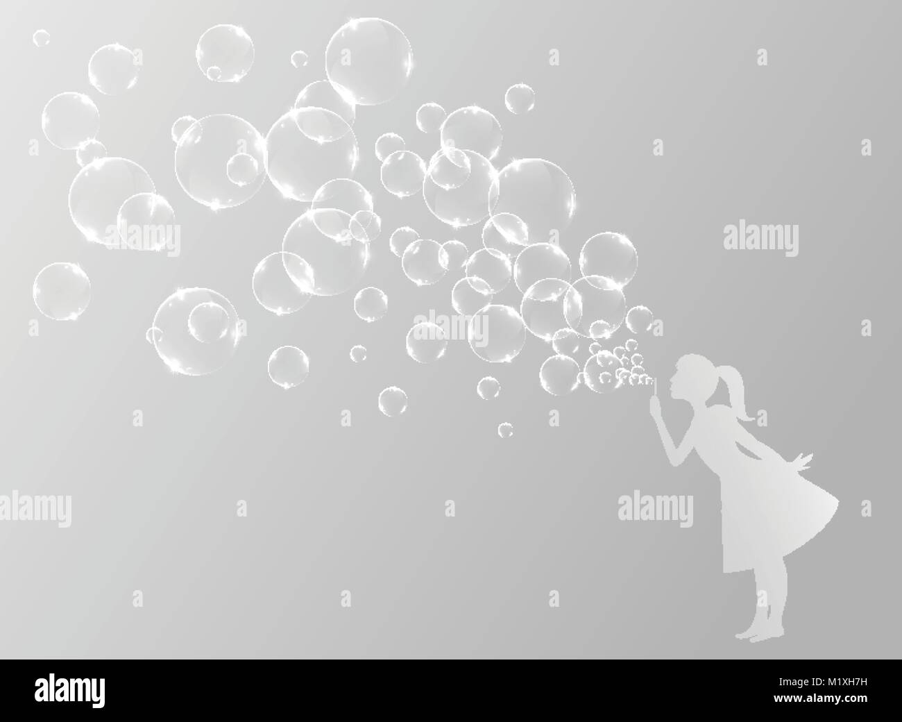 Little girl blowing bubbles - Stock Vector