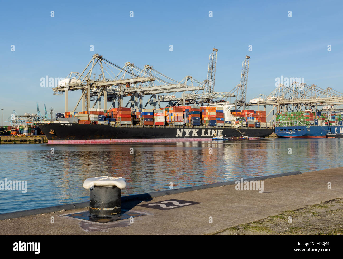 ROTTERDAM, THE NETHERLANDS - FEBRUARY 16, 2016: The container ship NYK VIRGO of the NYK Line is moored at the ECT - Stock Image