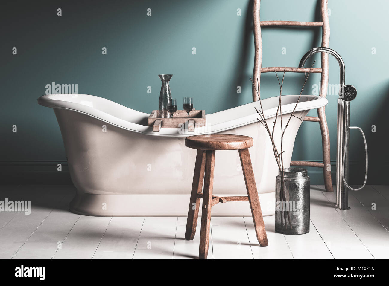 Old roll top chateau-style bathtub in a rustic bathroom with tiled ...