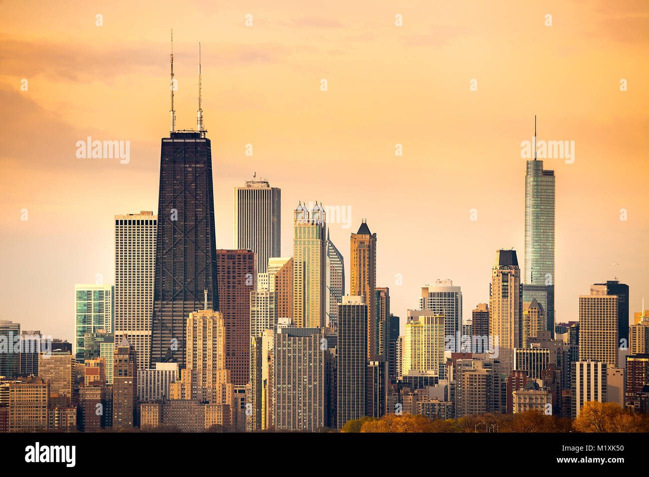 Downtown city skyline of Chicago, Illinois - Stock Image