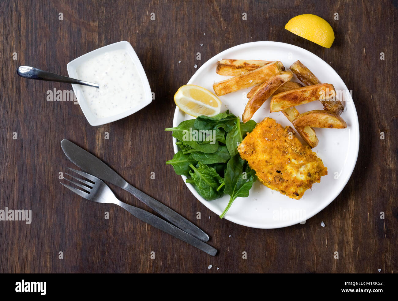 Homemade Fish and Chips. - Stock Image