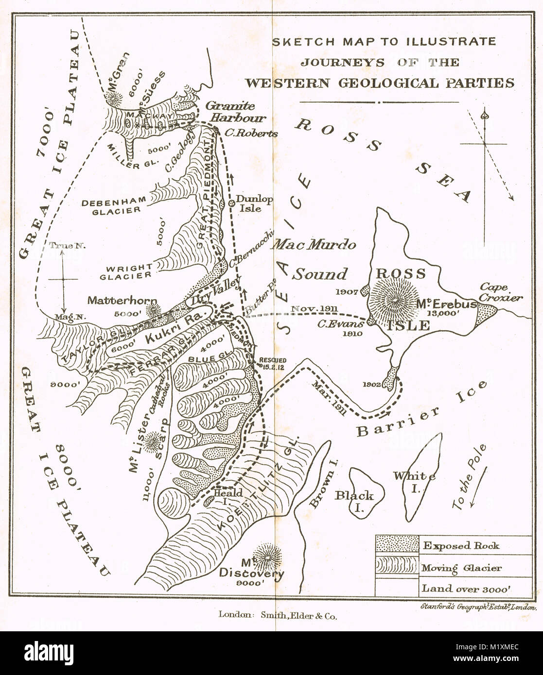 Sketch map, Journeys of the Western geological parties, 1911-12, Scott's final expedition - Stock Image