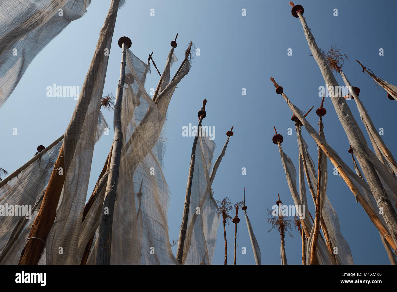 Prayer poles in Bhutan - Stock Image