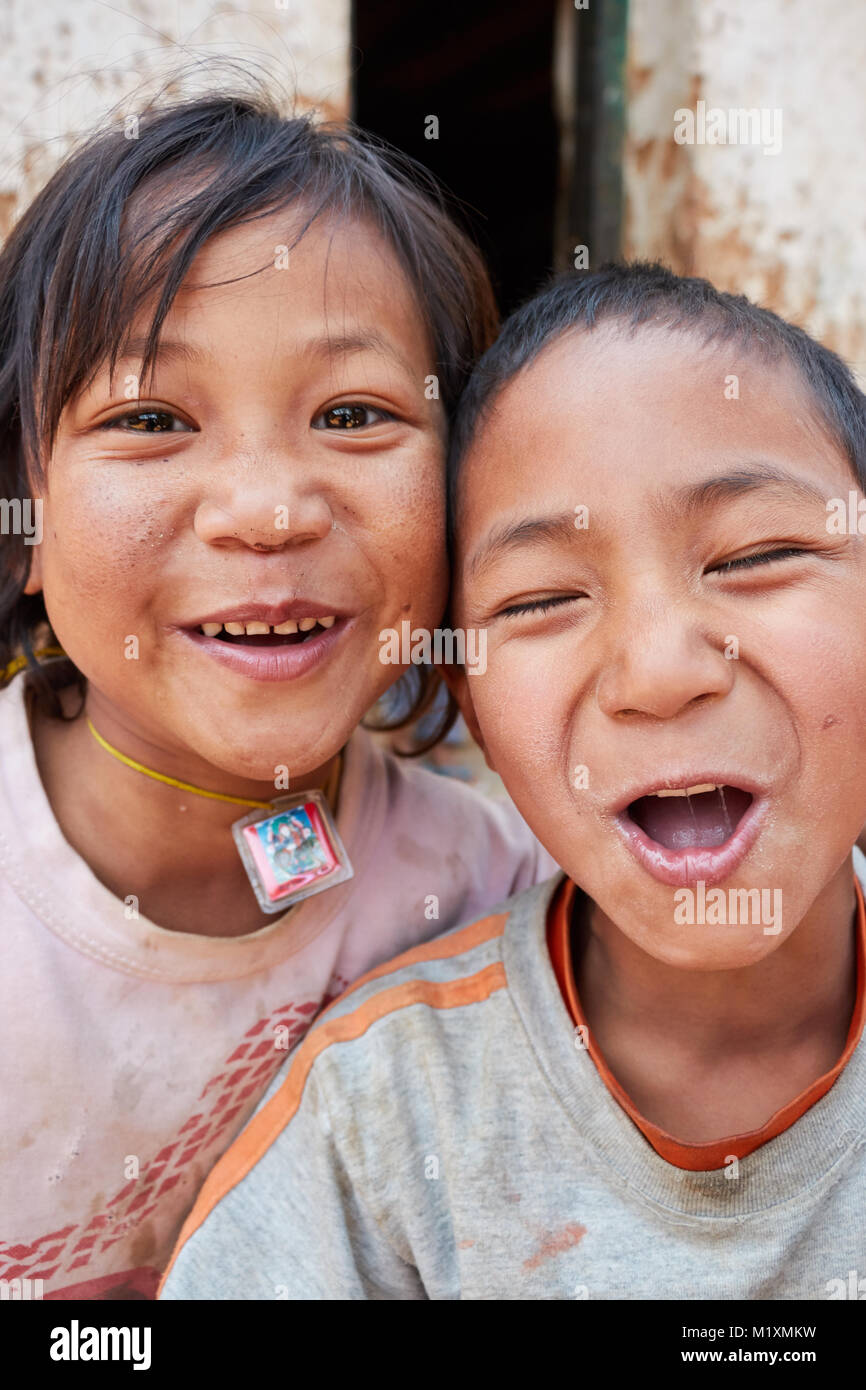 Bhutan children close-up - Stock Image