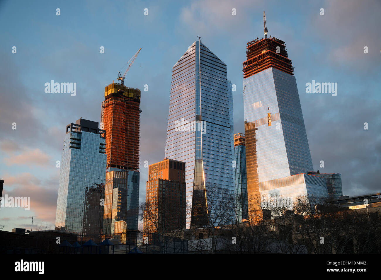 10 Hudson Yards, center, 30 Hudson Yards, right, and other Hudson Yards development in New York on Wednesday, January Stock Photo