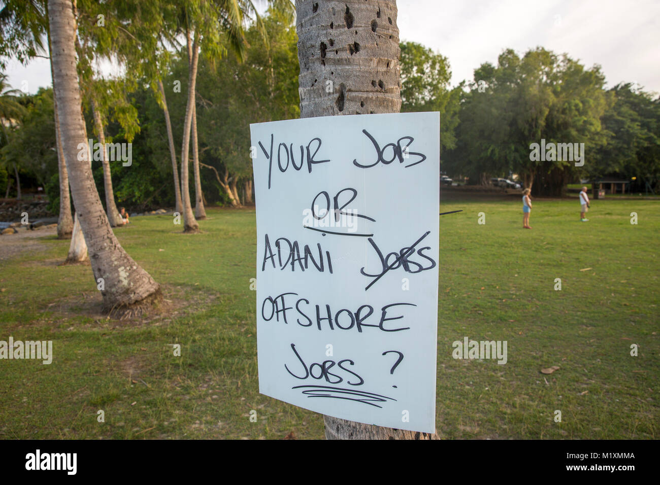 Sign objecting to the Adani coal mine and risk of offshore
