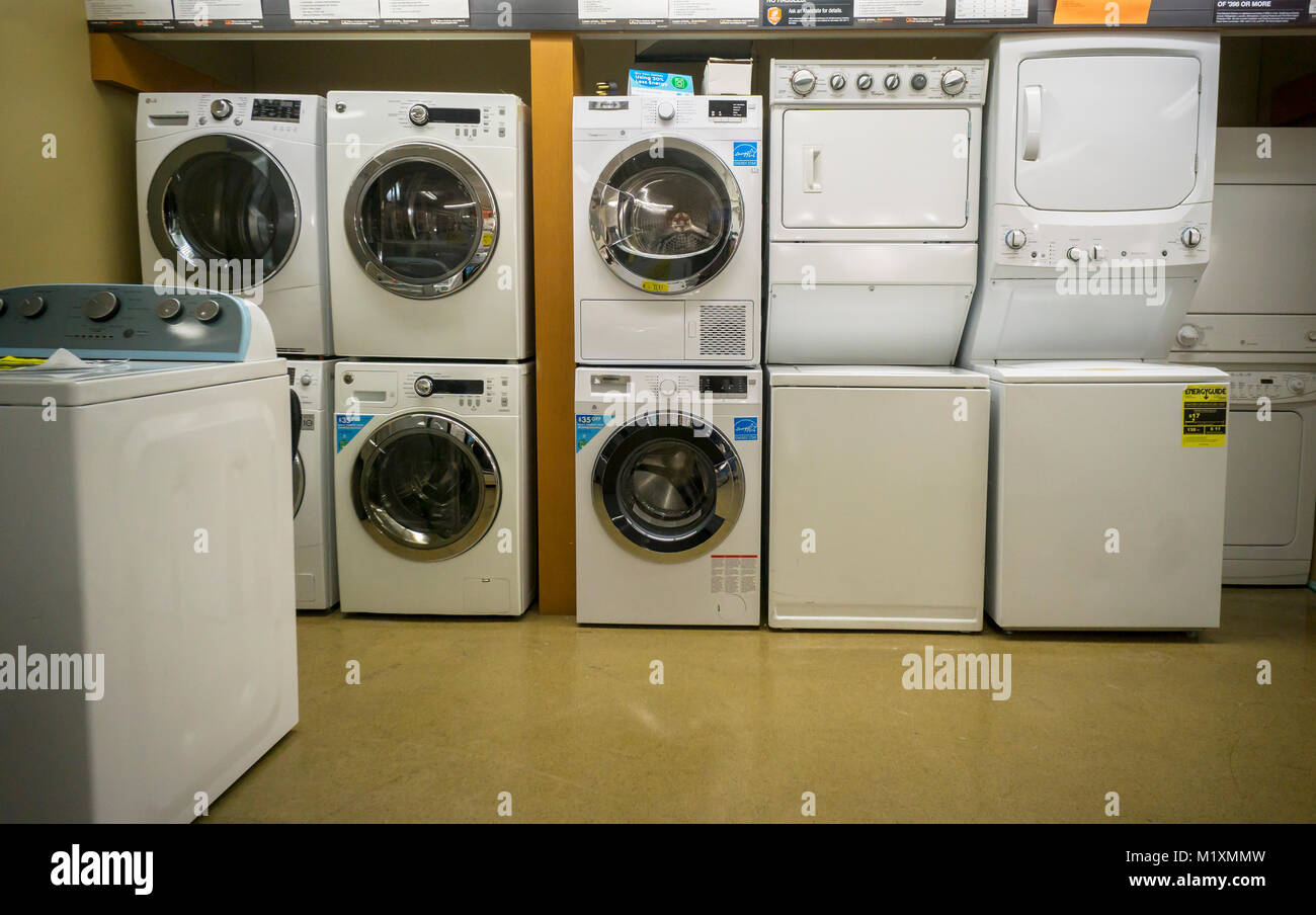 Various Brands Residential Washing Machines And Dryers On Display In