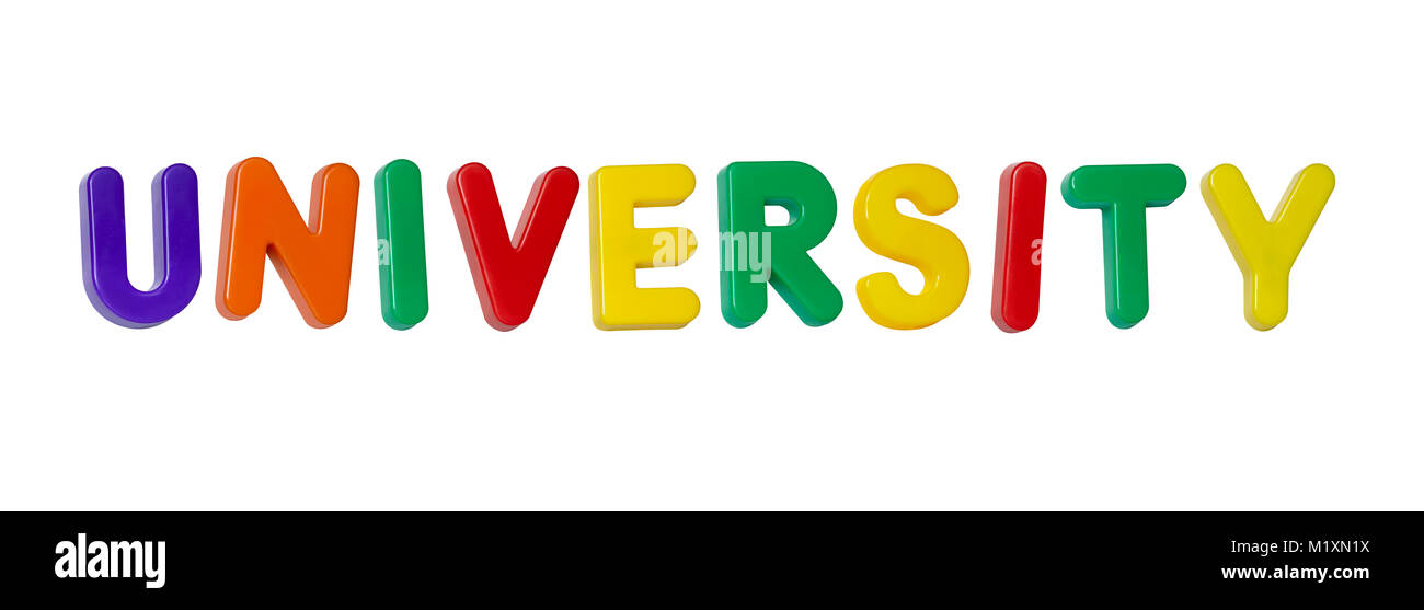 The word 'university' made up from coloured plastic letters - Stock Image