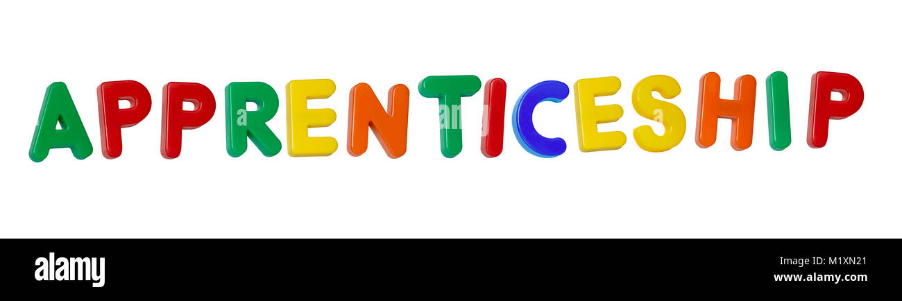 "The word ""apprenticeship"" made up from coloured plastic letters Stock Photo"