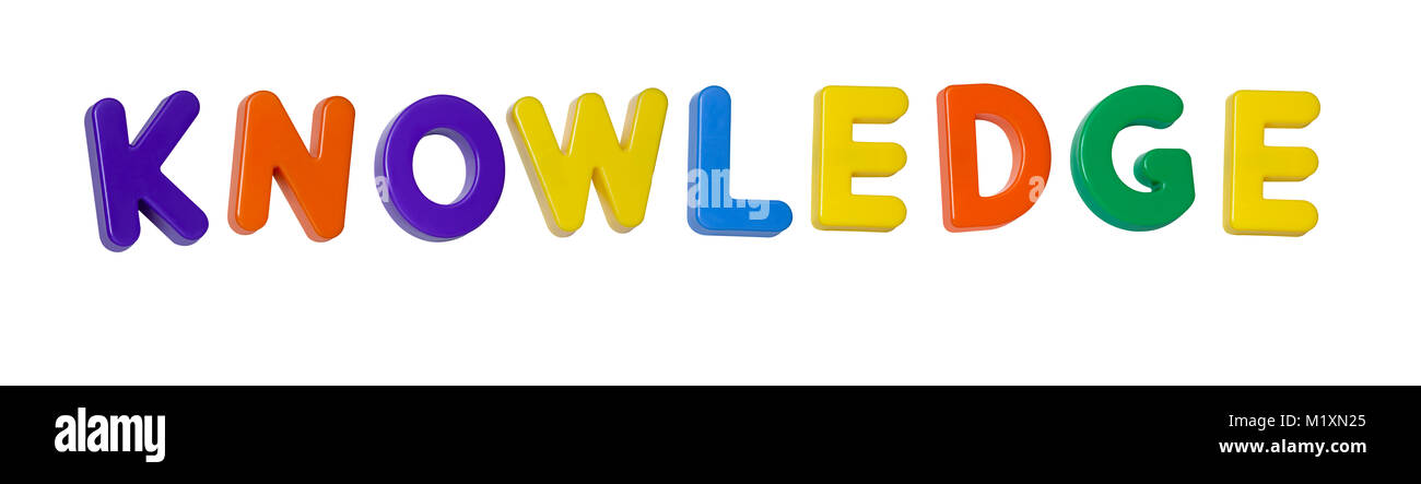 """The word """"knowledge"""" made up from coloured plastic letters Stock Photo"""