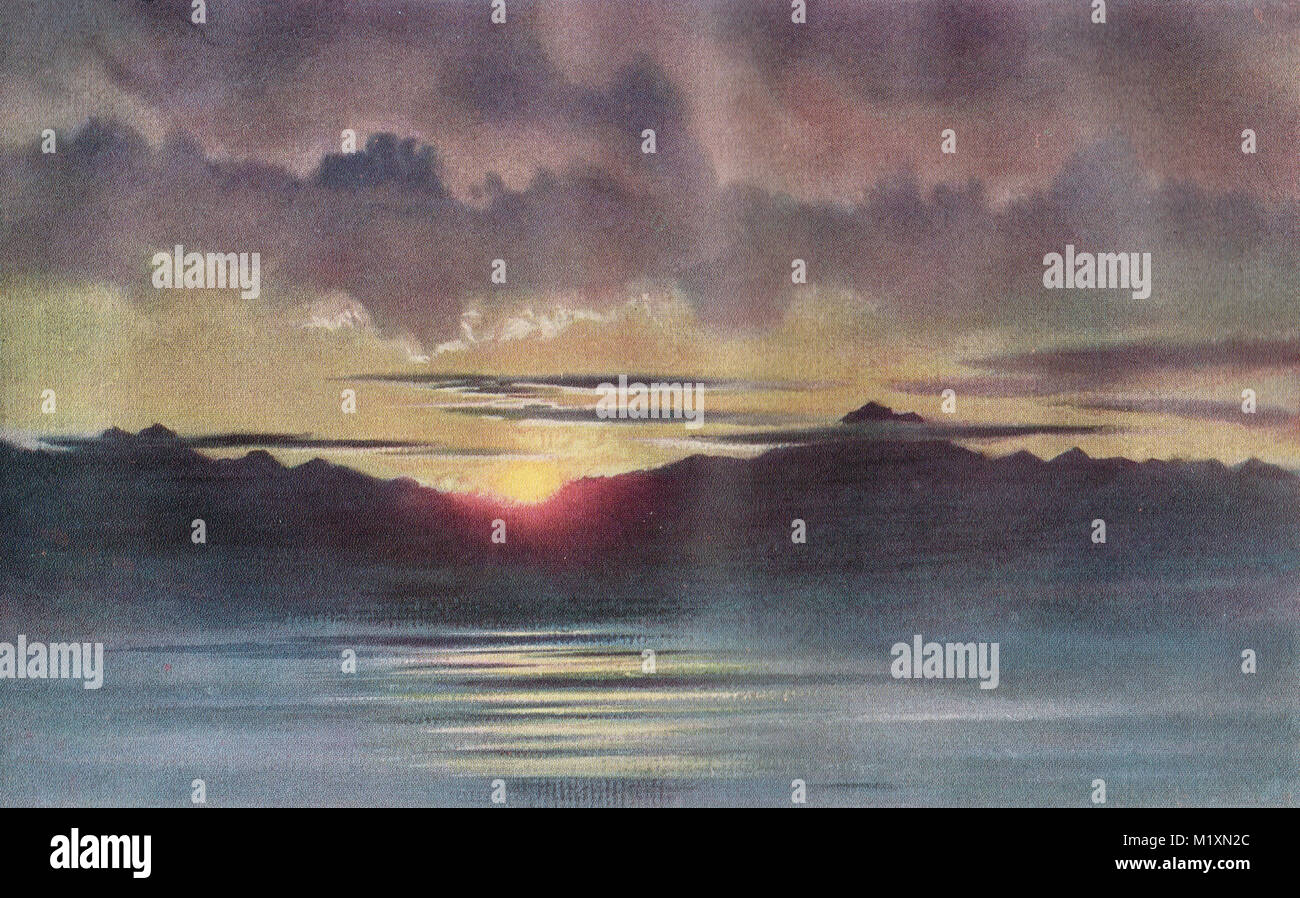 April Sunset looking west from Hut point, Ross Island, Antarctica, watercolour by Edward Adrian Wilson, Scott's - Stock Image