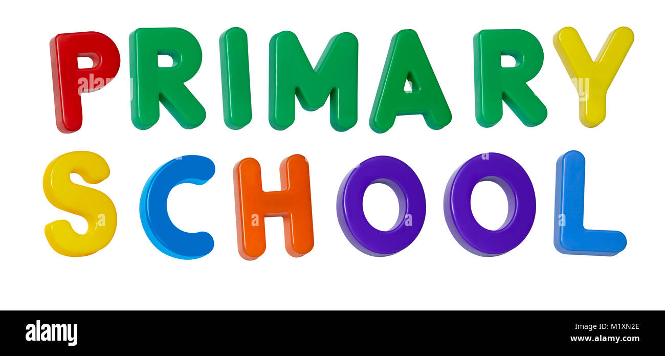 The words 'primary schooll' made up from coloured plastic letters - Stock Image