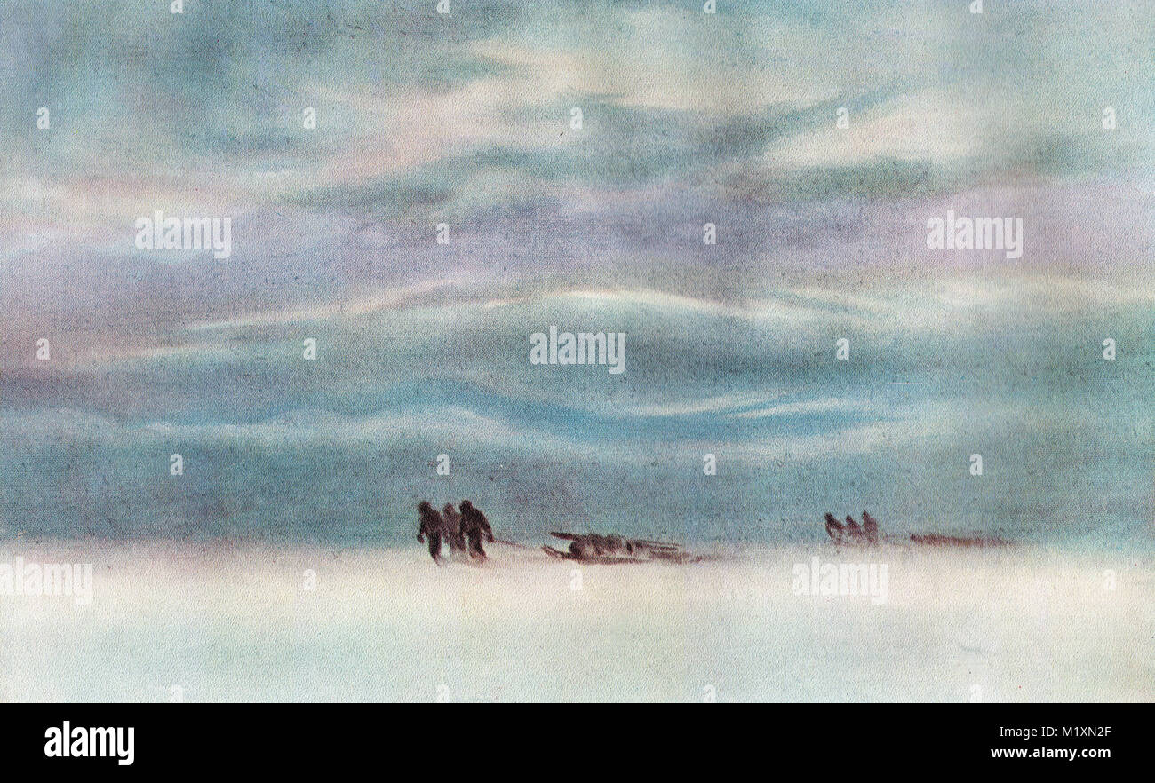 Sledging, Antarctica, watercolour by Edward Adrian Wilson.  Scott's final expedition - Stock Image