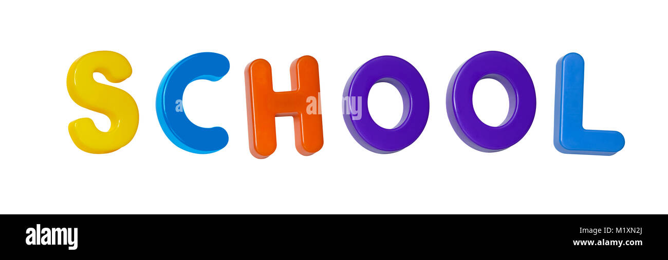 The word 'school' made up from coloured plastic letters - Stock Image