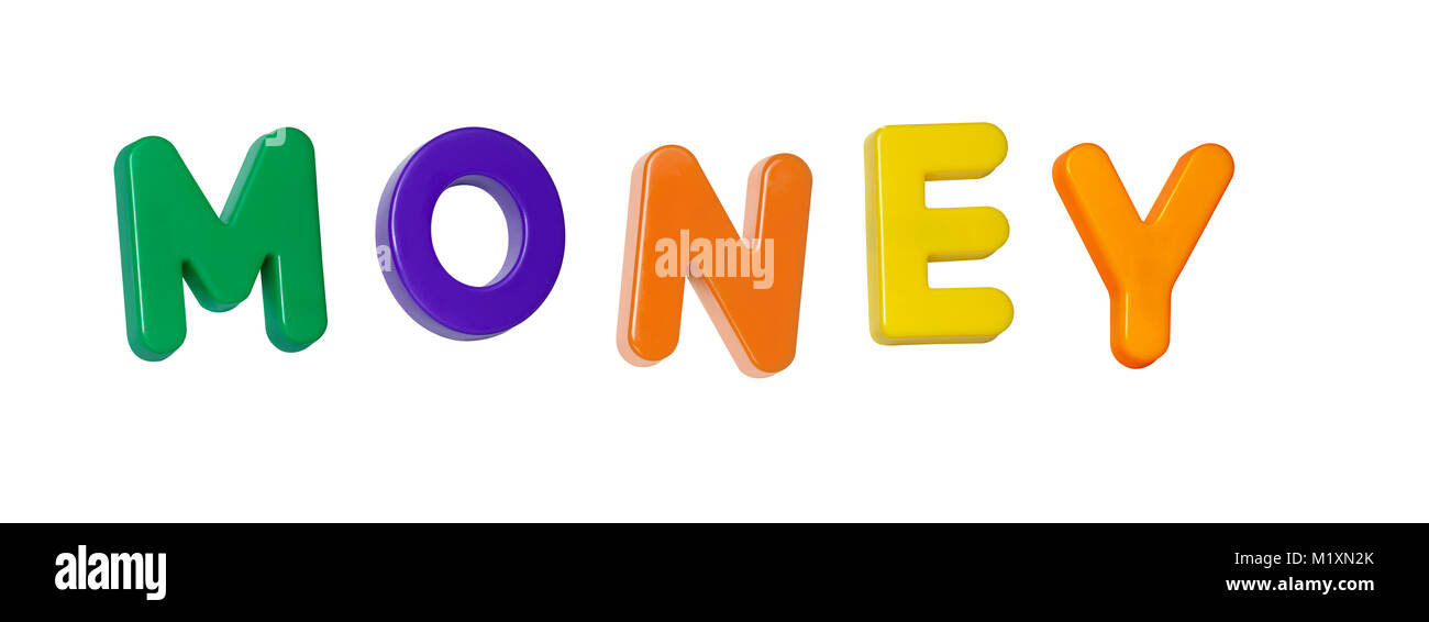 The word 'money' made up from coloured plastic letters - Stock Image
