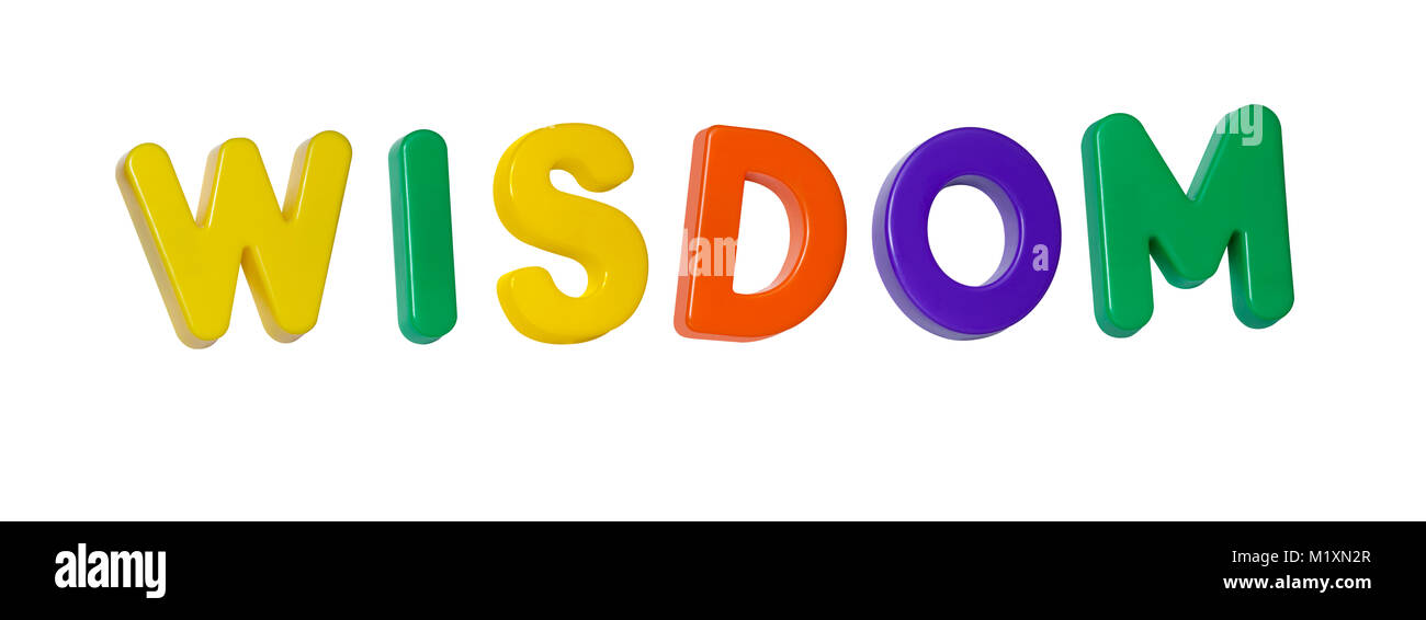The word 'wisdom' made up from coloured plastic letters - Stock Image