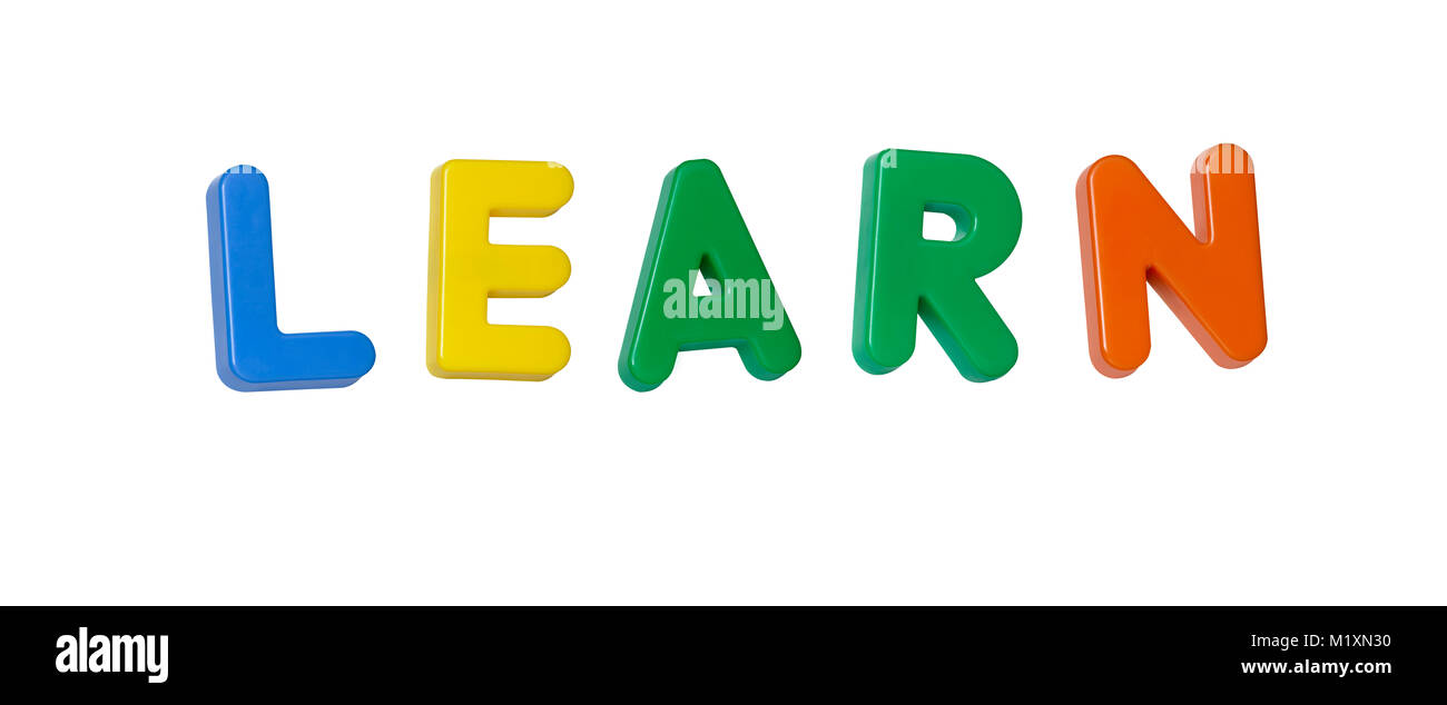The word 'learn' made up from coloured plastic letters - Stock Image