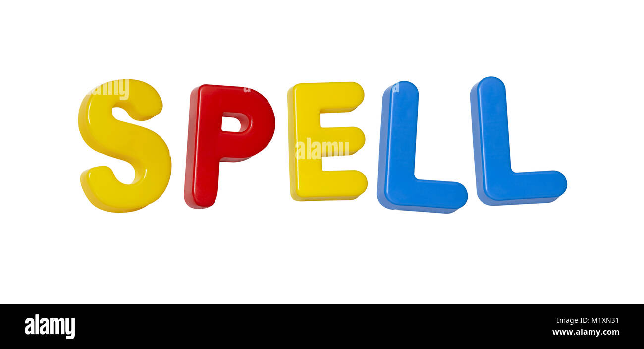 The word 'spell' made up from coloured plastic letters - Stock Image