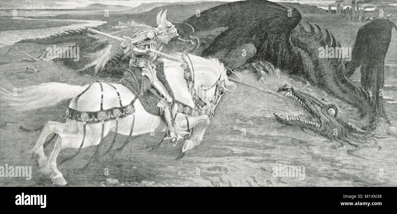 Saint George and the Dragon by Walter Crane - Stock Image