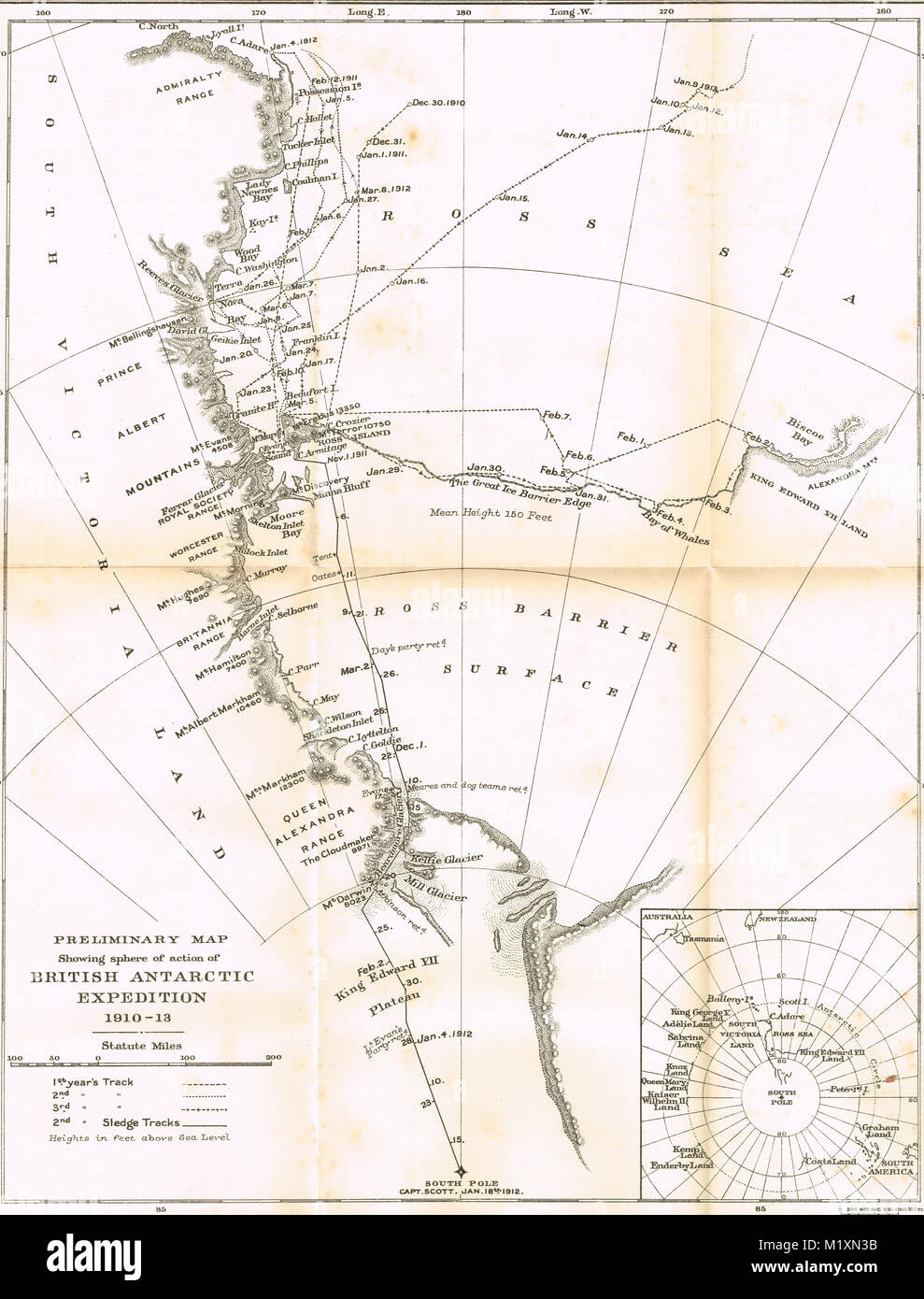 Preliminary map, showing sphere of action, British Antarctic Expedition 1910-13, Scott's final expedition - Stock Image