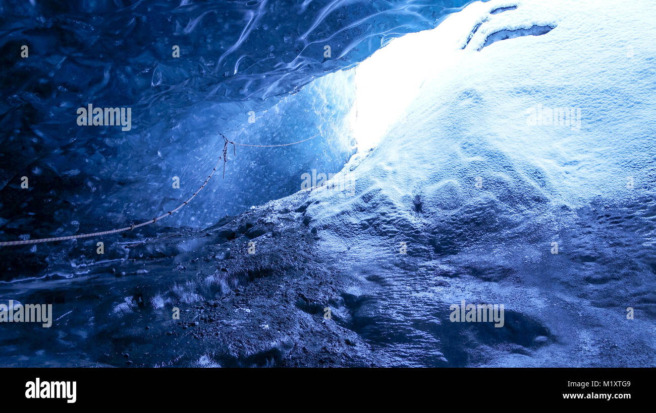 Ice Cave in Iceland. - Stock Image