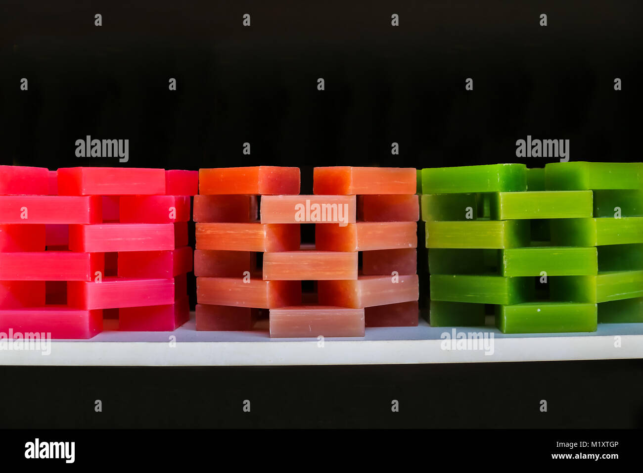 Isolated Stacked Colorful Hand Made Soaps Stock Photo