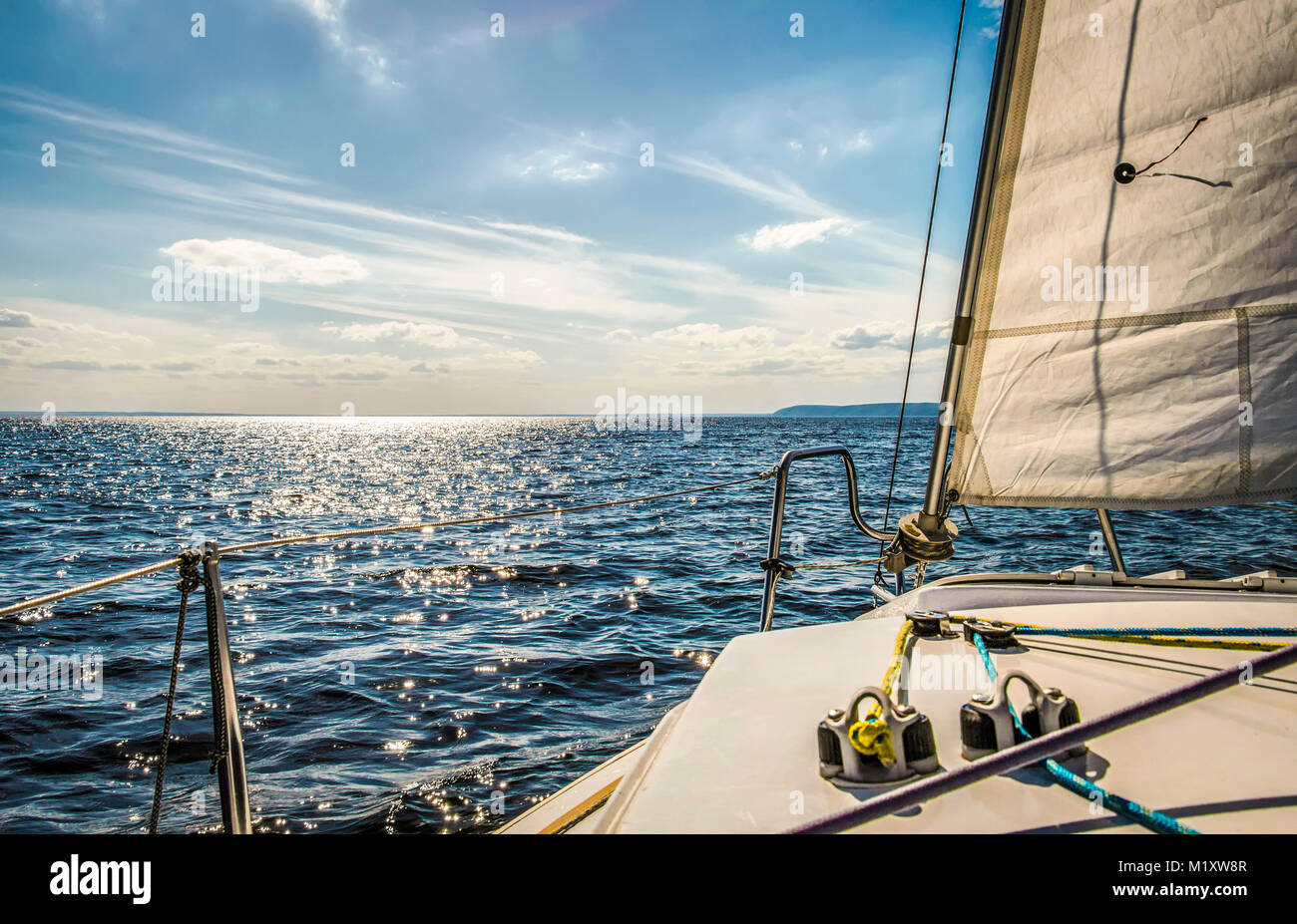 Skating on a white yacht on the blue sea Stock Photo: 173308935 - Alamy