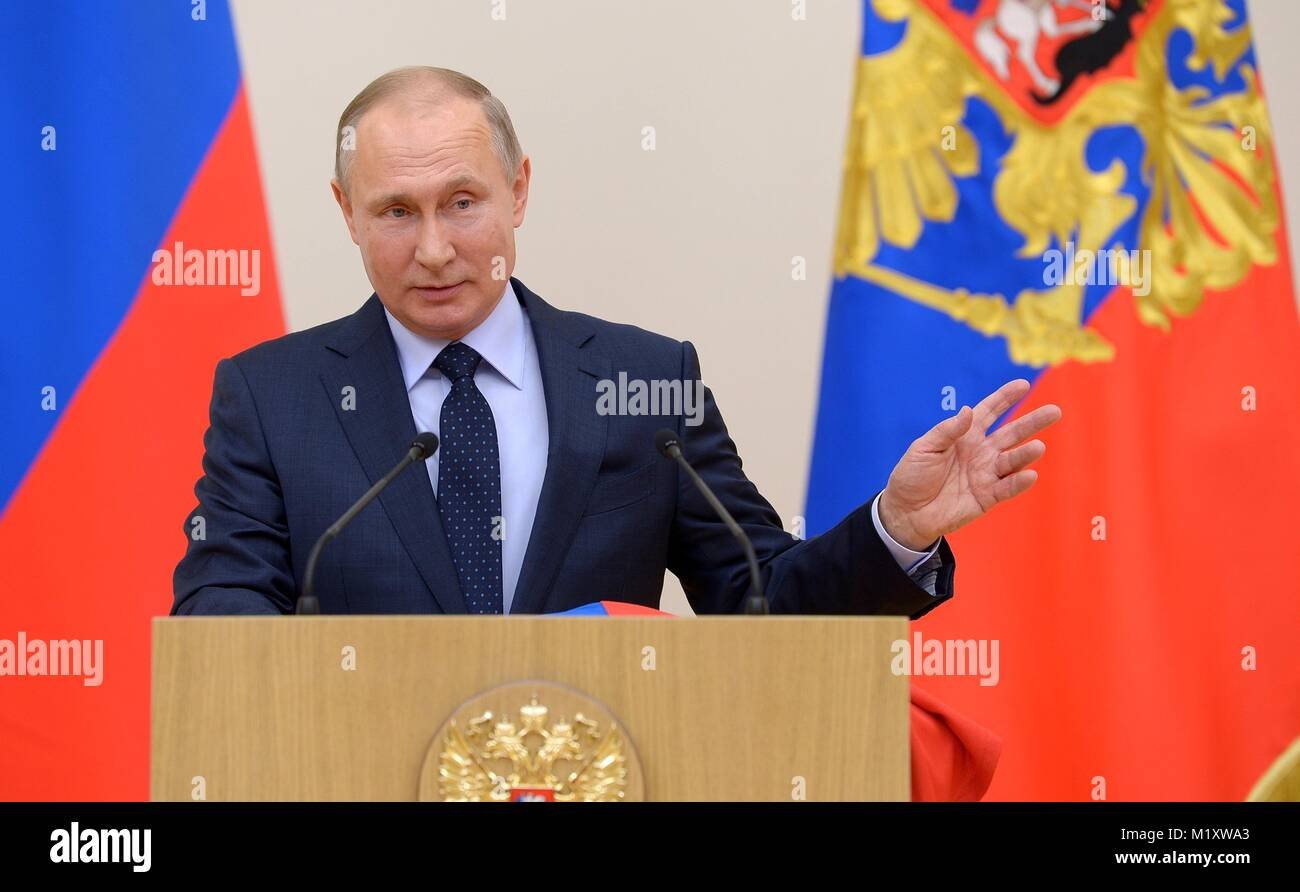 Russian President Vladimir Putin addresses athletes competing in the PyeongChang Olympic Winter Games January 31, - Stock Image