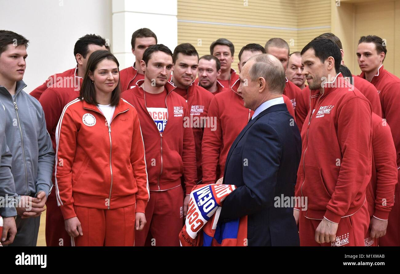 Russian President Vladimir Putin chats with athletes competing in the PyeongChang Olympic Winter Games January 31, - Stock Image