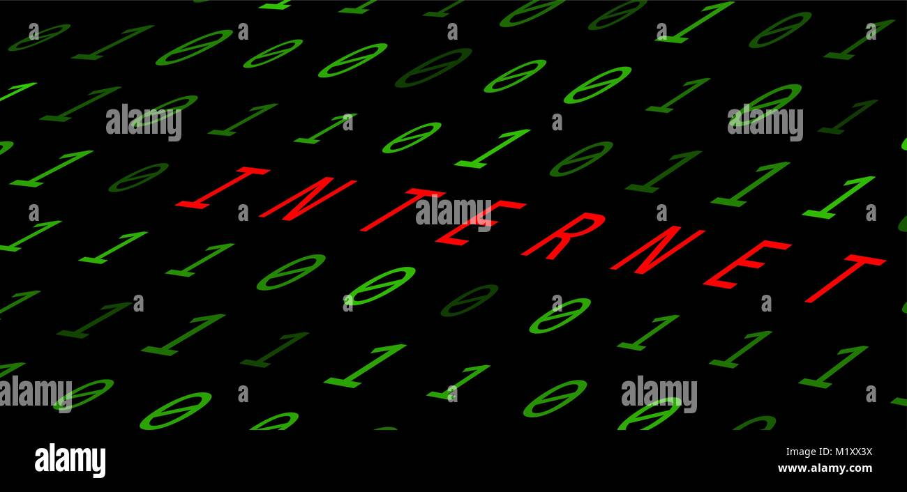 binary background with internet sign on black background Stock Vector
