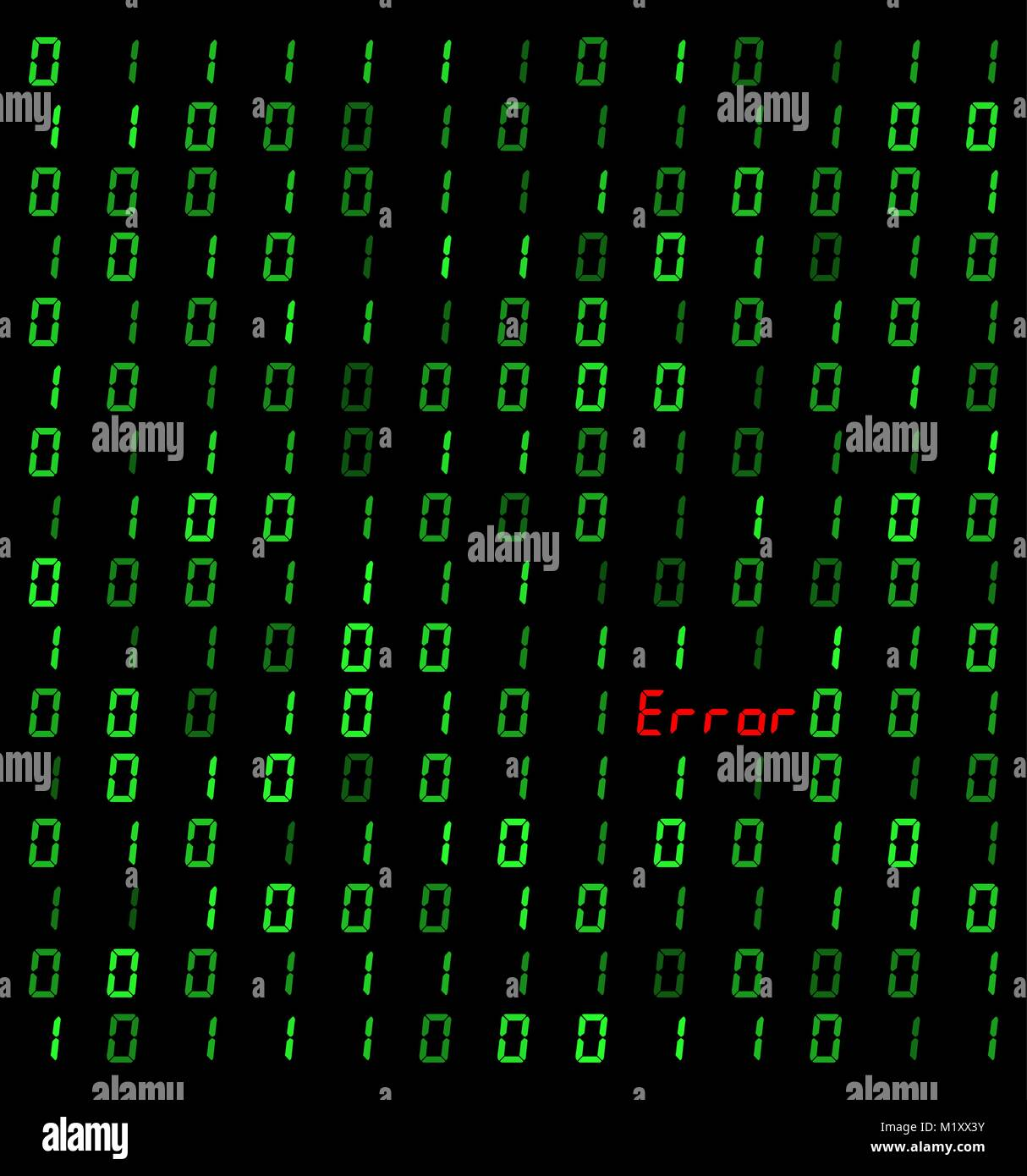 binary background with error sign on black background - Stock Image