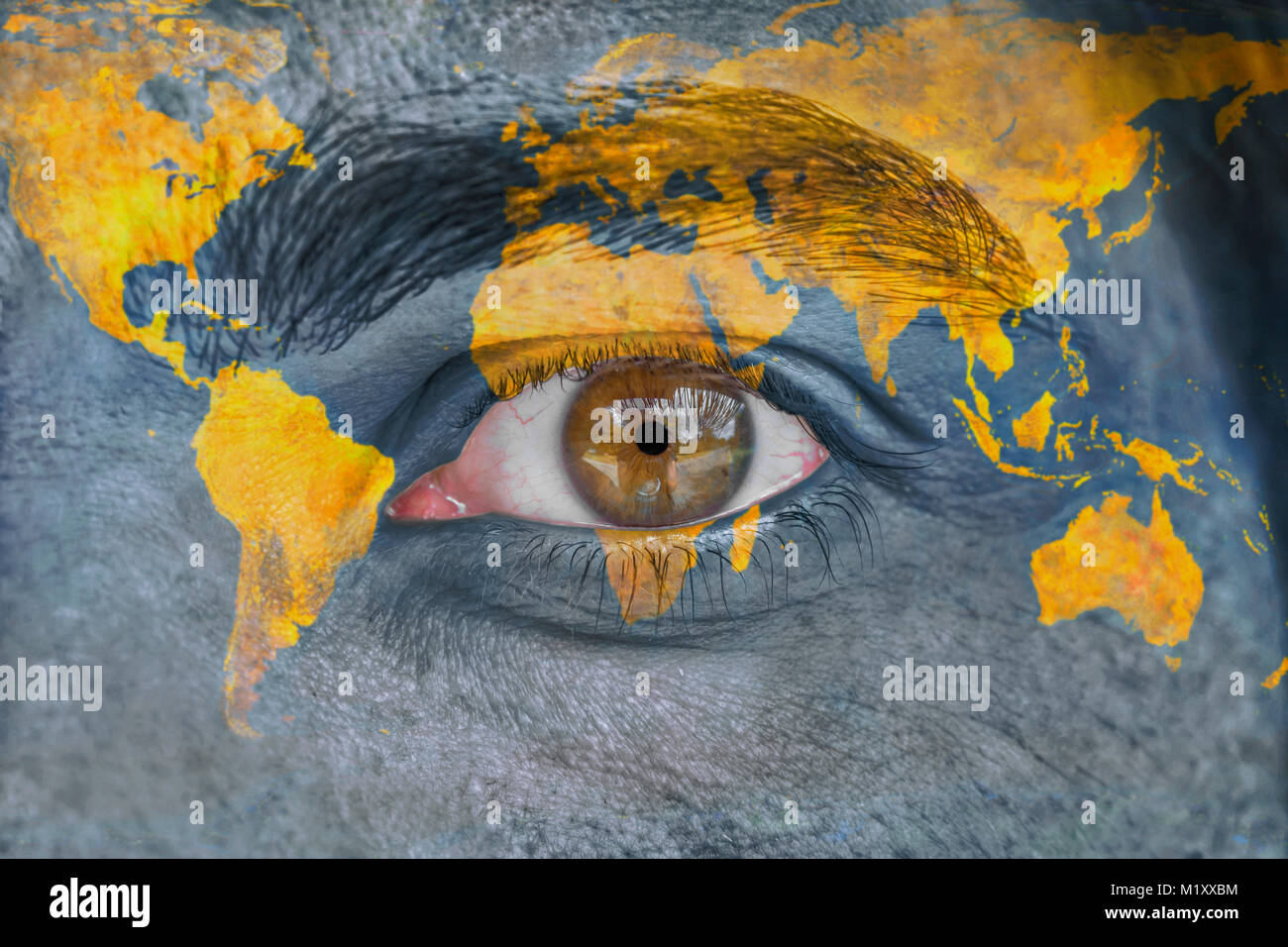 face and eye painted with yellow world space geography ... World Map Eye on eye earth, eye mind map, eye egypt, eye clock, home depot map, an old map,