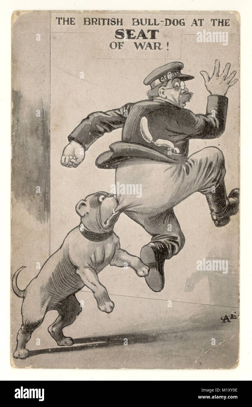 """Patriotic WW1 postcard """"The British Bulldog at the seat of war"""", The German officer has Germany written on the band Stock Photo"""