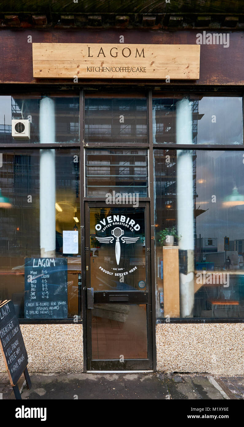 Lagom kitchen and Ovenbird coffee roasters on Victoria Street in Glasgow, UK - Stock Image