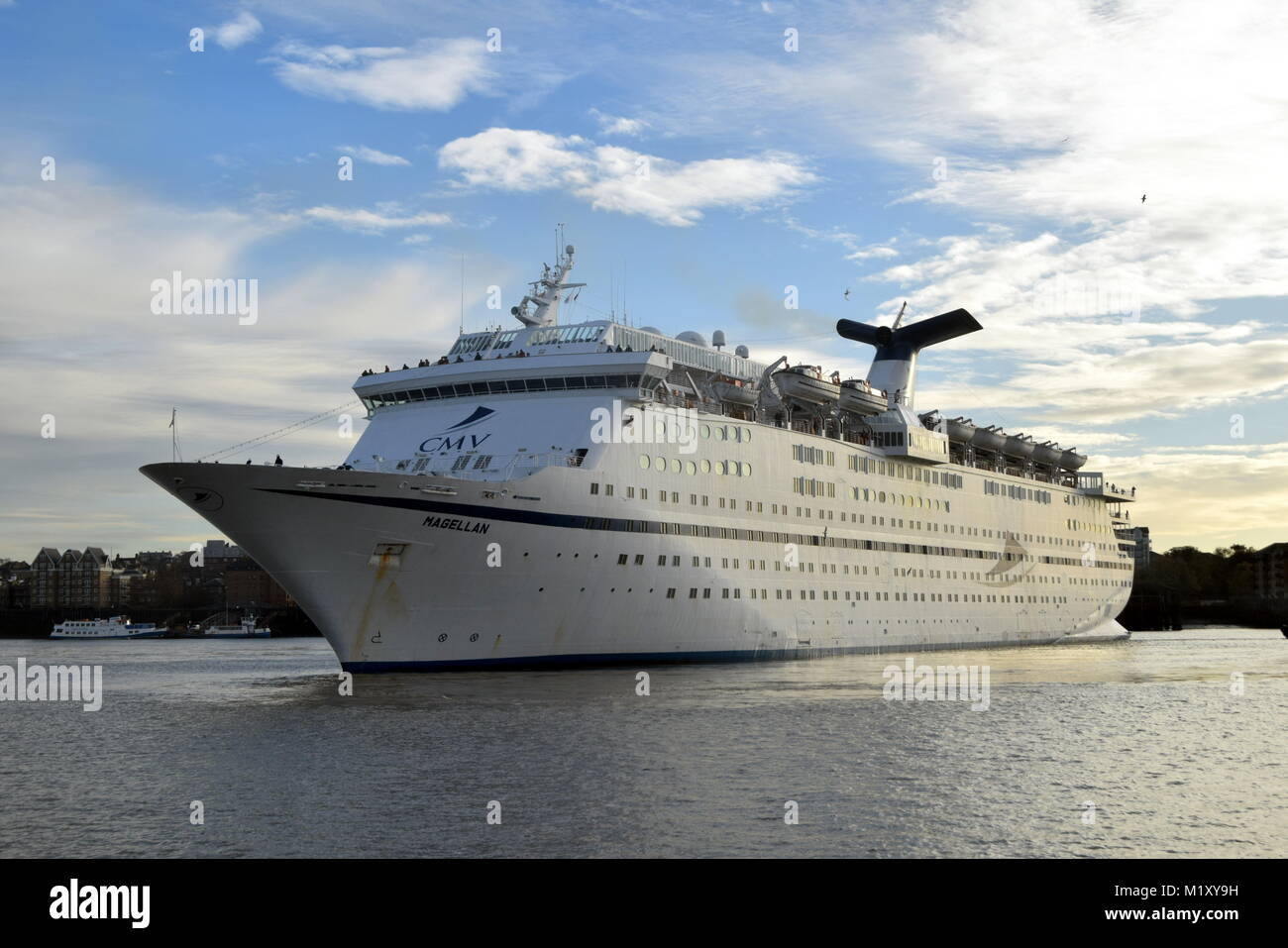 CMV Cruise And Maritime Voyages Cruise Ship Magellen Arrives at London Tilbury Cruise Terminal On The River Thames. Stock Photo