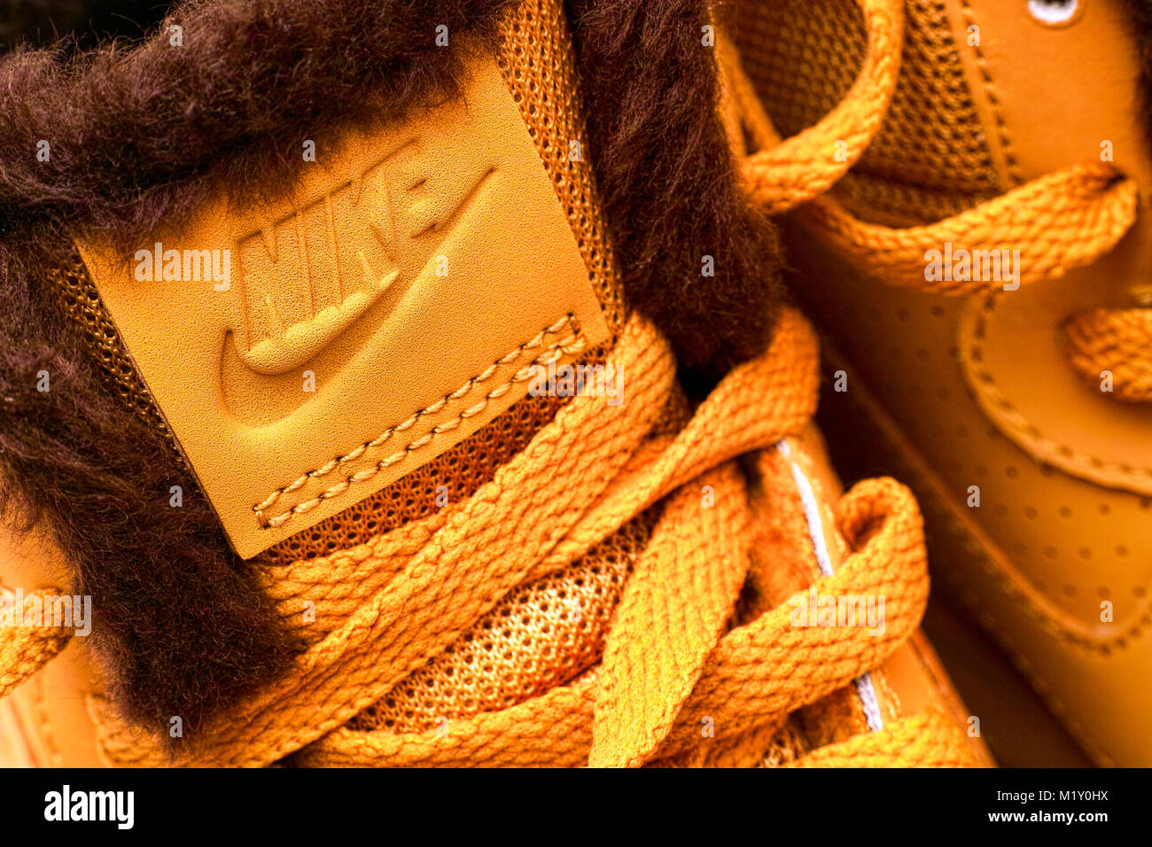 Tambov, Russian Federation - September 27, 2017 Close-up of label Nike on new winter sport shoes. - Stock Image