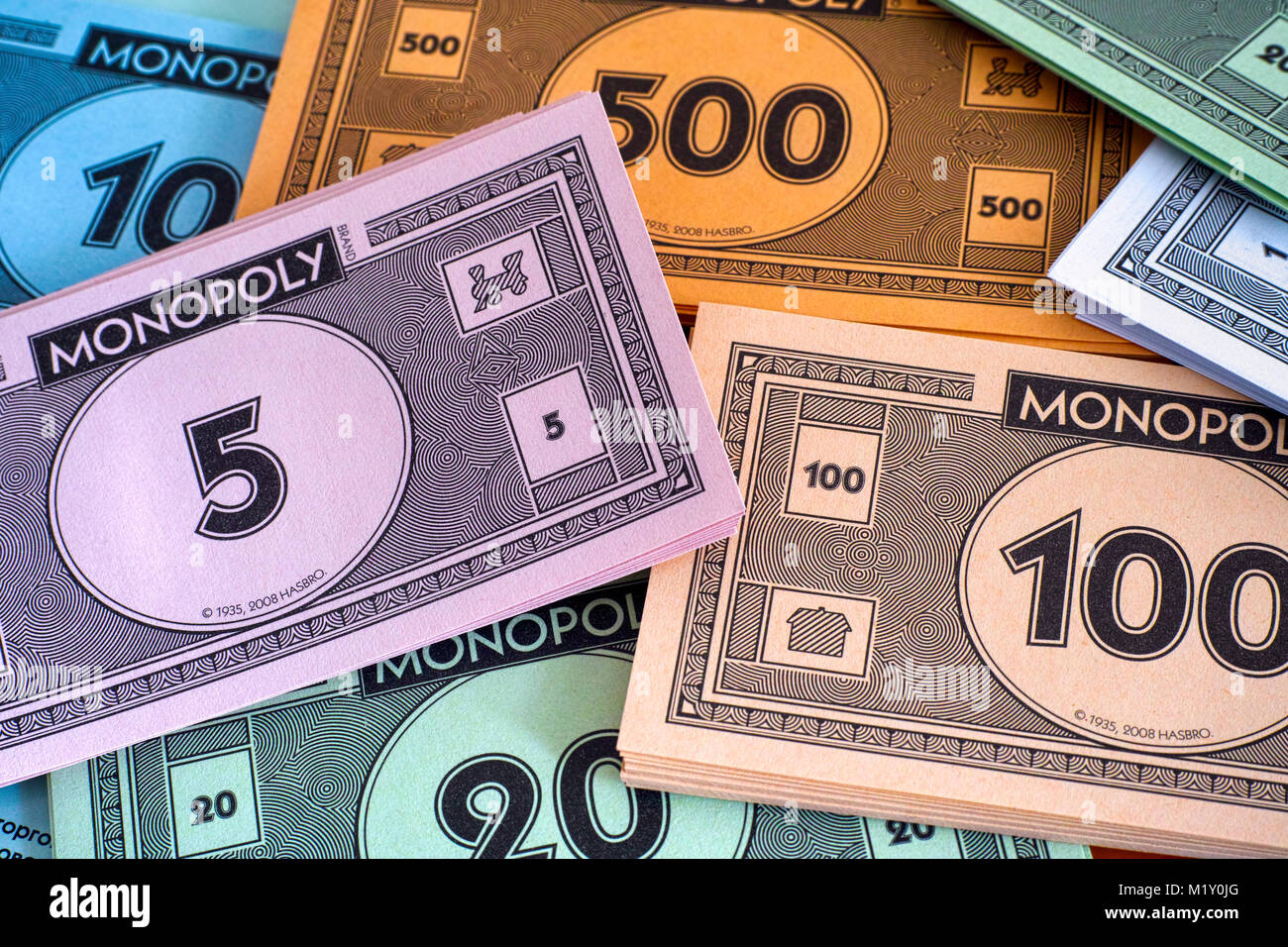 Tambov, Russian Federation - January 26, 2018 Monopoly money packs. Full  frame.