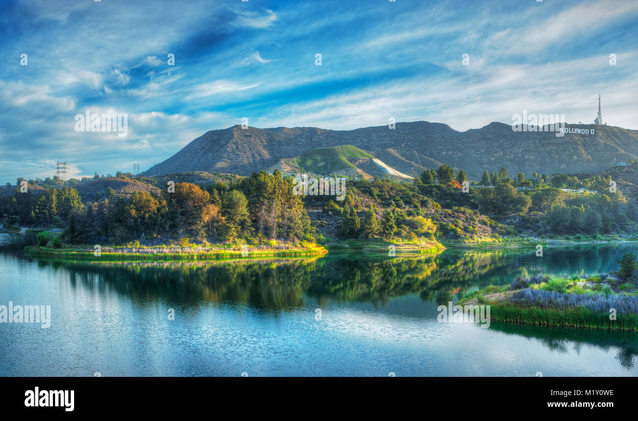 The Hollywood Reservoir With Iconic Sign In Distance To Right Photographed At Sunrise From Mulholland Dam Los Angeles