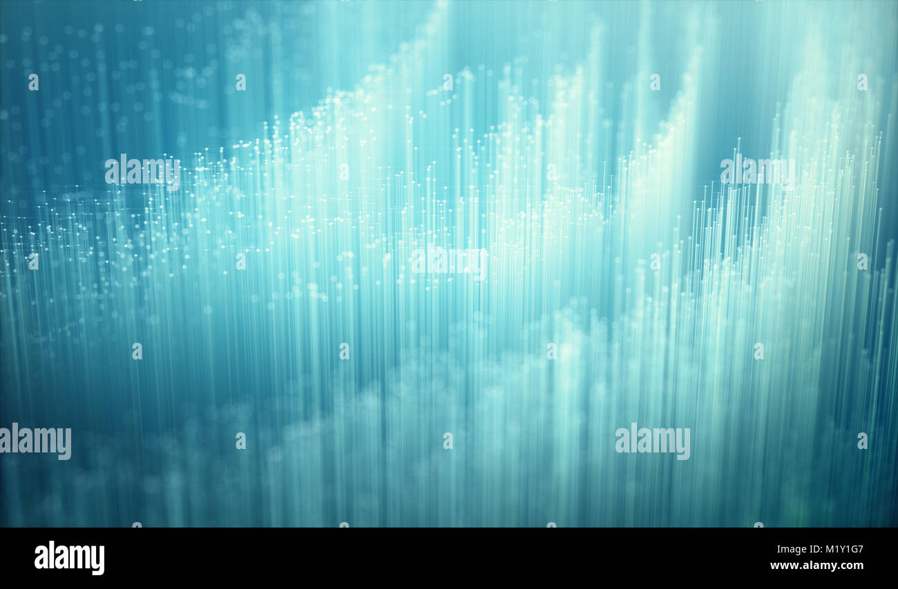 Fiber optics, background image, technology concept of data transfer and communication. - Stock Image