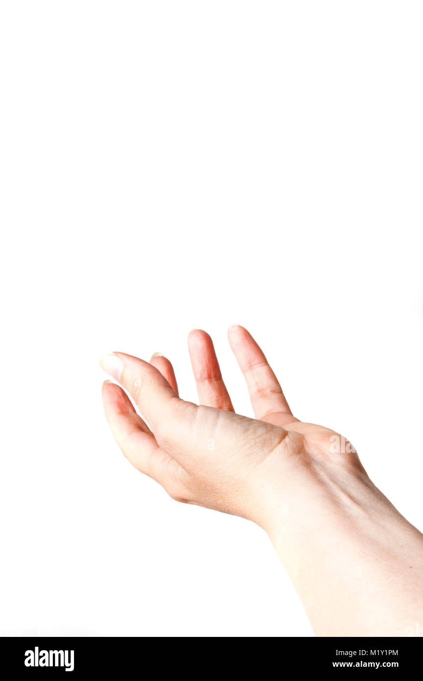 female hand in gesture of acceptance, isolated - Stock Image