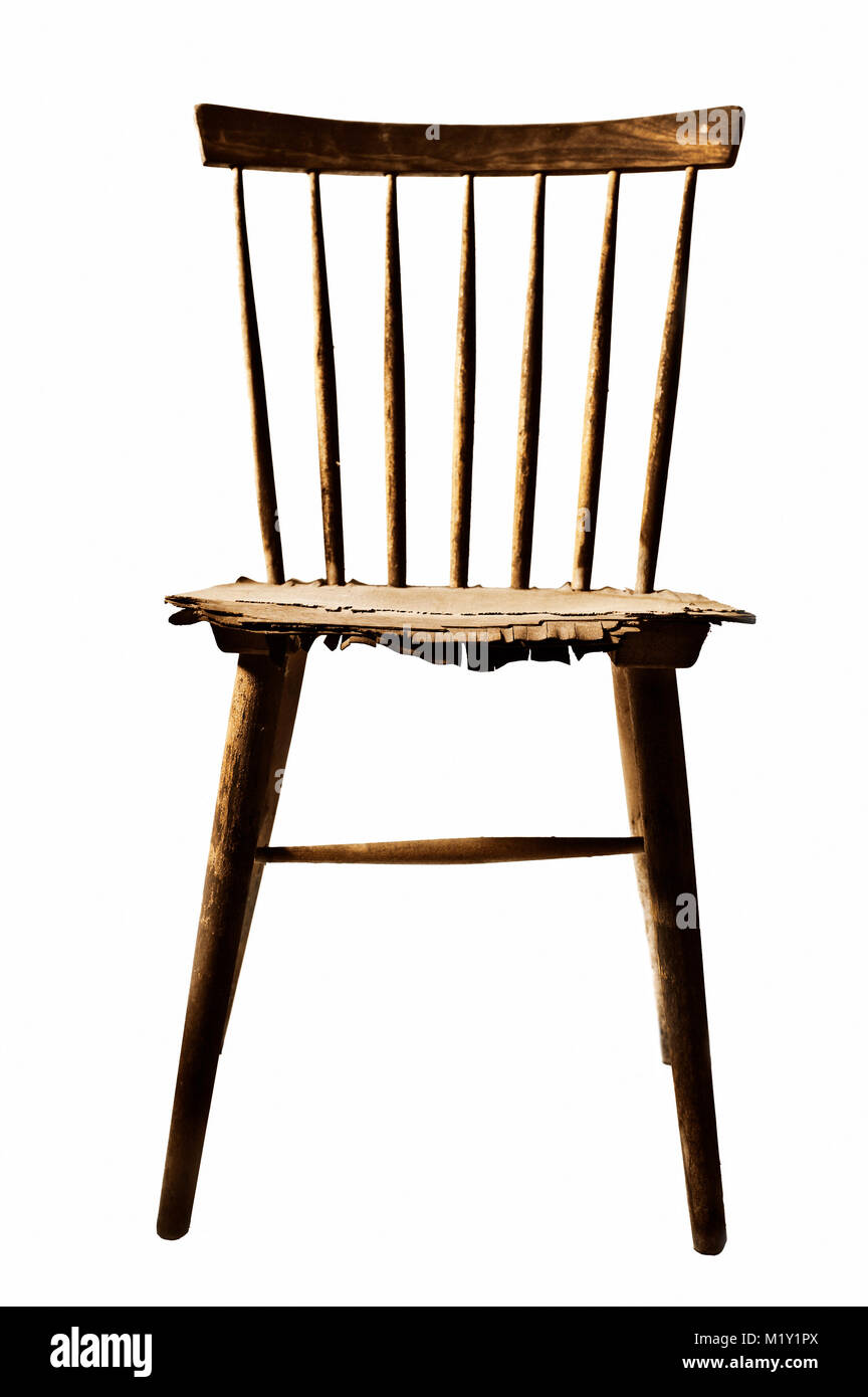 very old and damaged wooden chair, siolated - Stock Image