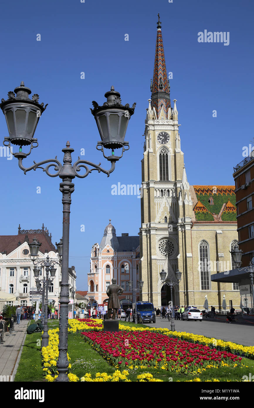 NOVI SAD, SERBIA - APRIL 03: View on Catholic Cathedral from street Modene in Novi Sad, which in this city keeps Stock Photo