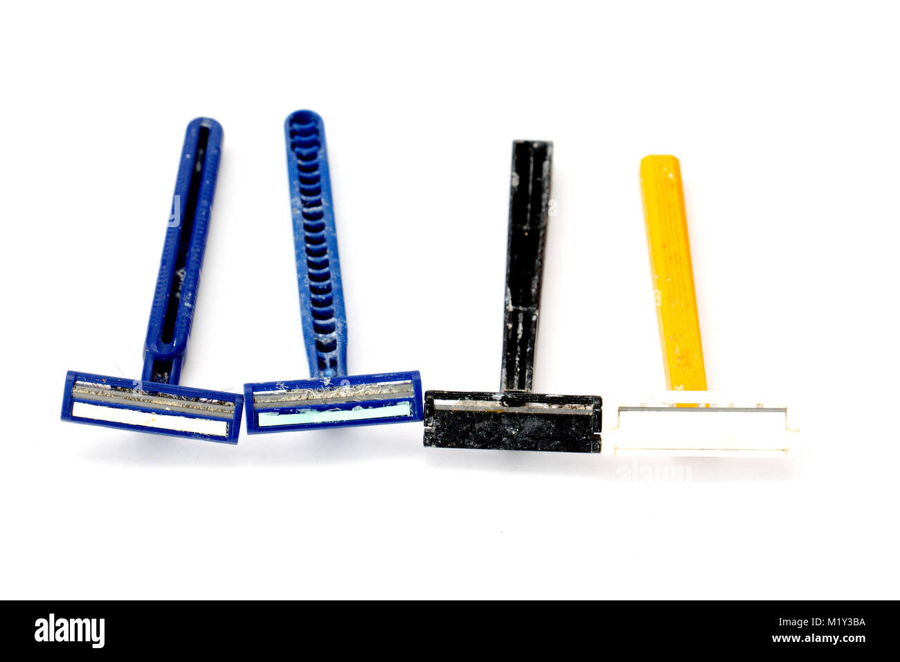 used disposable razor blade, on white background, image of a - Stock Image